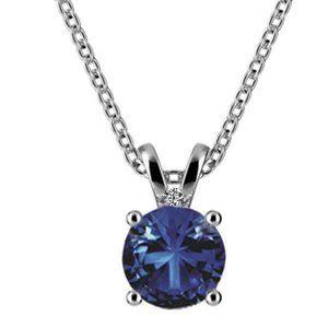 Jewelry - Blue Sapphire And Diamond Necklace Pendant White G